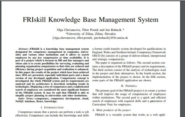 Článok – FRIskill Knowledge Base Management System